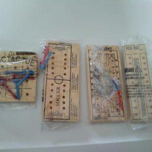 4-Vintage Mini Wooden Board Games - Unopened